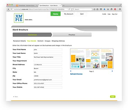XMPIE portal screen showing brochure customization