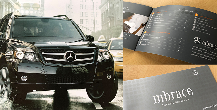 Photo montage of Mercedes-Benz vehicle and brochure