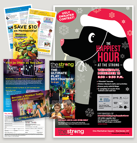 Montage featuring various marketing collateral from The Strong.