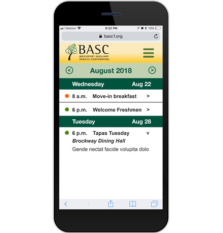 BASC dining calendar on mobile phone