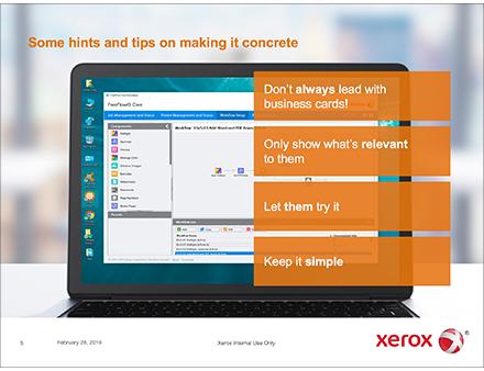 Xerox FreeFlow Core Sales Training screen