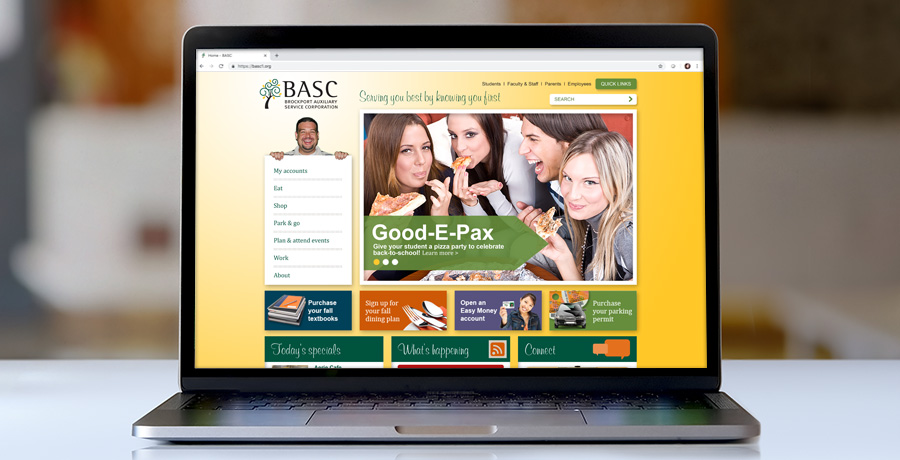 BASC Home page on laptop
