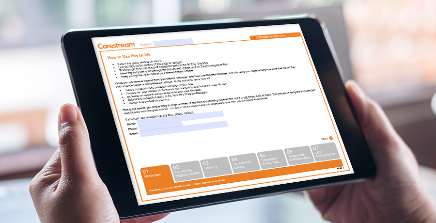 Carestream New Hire sales tool on an iPad screen