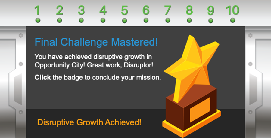 By correctly answering all the questions in the Final Challenge, learners unlock their final in-course trophy.