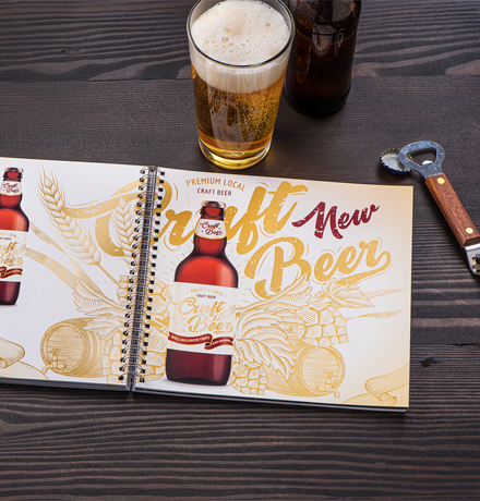 Beer application with Gold underlay, CMYK, and Silver Overlay