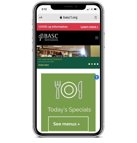 BASC Home page on mobile
