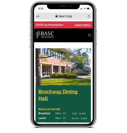 BASC Locations and Dining on Mobile