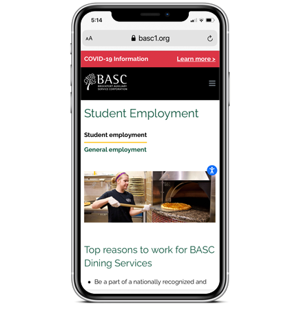 BASC Student Employment on Mobile